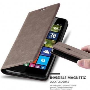 Cadorabo Hülle für Nokia Lumia 540 in KAFFEE BRAUN - Handyhülle mit Magnetverschluss, Standfunktion und Kartenfach - Case Cover Schutzhülle Etui Tasche Book Klapp Style