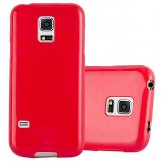 Cadorabo Hülle für Samsung Galaxy S5 MINI / S5 MINI DUOS in JELLY ROT ? Handyhülle aus flexiblem TPU Silikon ? Silikonhülle Schutzhülle Ultra Slim Soft Back Cover Case Bumper