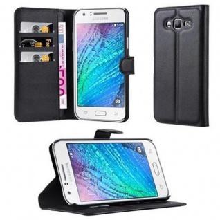 Cadorabo Hülle für Samsung Galaxy J7 2015 in PHANTOM SCHWARZ - Handyhülle mit Magnetverschluss, Standfunktion und Kartenfach - Case Cover Schutzhülle Etui Tasche Book Klapp Style