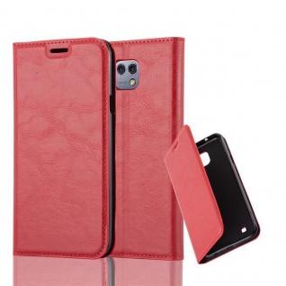 Cadorabo Hülle für LG X CAM in APFEL ROT Handyhülle mit Magnetverschluss, Standfunktion und Kartenfach Case Cover Schutzhülle Etui Tasche Book Klapp Style