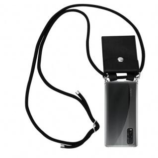 Cadorabo Handy Kette für Oppo Find X2 in SCHWARZ Silikon Necklace Umhänge Hülle mit Silber Ringen, Kordel Band Schnur und abnehmbarem Etui Schutzhülle