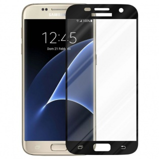 Cadorabo Vollbild Panzer Folie für Samsung Galaxy S7 - Schutzfolie in TRANSPARENT mit SCHWARZ - Gehärtetes (Tempered) Display-Schutzglas in 9H Härte mit 3D Touch Kompatibilität - Vorschau 2