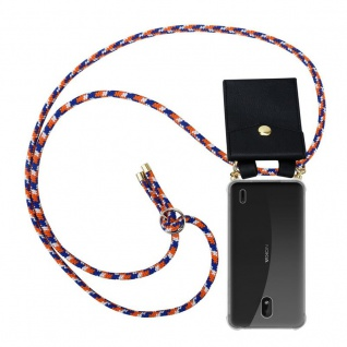 Cadorabo Handy Kette für Nokia 1 PLUS in ORANGE BLAU WEISS - Silikon Necklace Umhänge Hülle mit Gold Ringen, Kordel Band Schnur und abnehmbarem Etui ? Schutzhülle