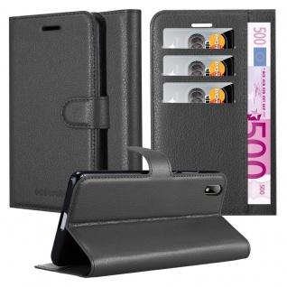 Cadorabo Hülle für Huawei Y5 2019 in PHANTOM SCHWARZ Handyhülle mit Magnetverschluss, Standfunktion und Kartenfach Case Cover Schutzhülle Etui Tasche Book Klapp Style