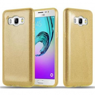 Cadorabo Hülle für Samsung Galaxy J5 2016 (6) - Hülle in STERNENSTAUB GOLD - TPU Silikon und Hardcase Handyhülle im Glitzer Design - Hard Case TPU Silikon Schutzhülle
