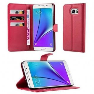 Cadorabo Hülle für Samsung Galaxy NOTE 5 in KARMIN ROT - Handyhülle mit Magnetverschluss, Standfunktion und Kartenfach - Case Cover Schutzhülle Etui Tasche Book Klapp Style