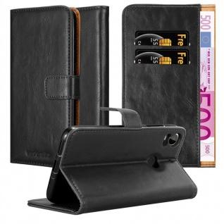 Cadorabo Hülle für HTC Desire 10 PRO in GRAPHIT SCHWARZ ? Handyhülle mit Magnetverschluss, Standfunktion und Kartenfach ? Case Cover Schutzhülle Etui Tasche Book Klapp Style