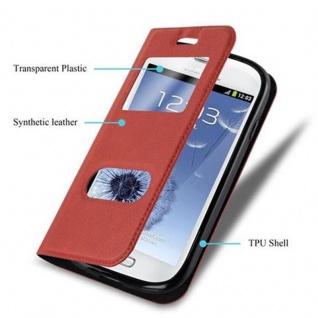Cadorabo Hülle für Samsung Galaxy S3 MINI in SAFRAN ROT ? Handyhülle mit Magnetverschluss, Standfunktion und 2 Sichtfenstern ? Case Cover Schutzhülle Etui Tasche Book Klapp Style - Vorschau 3