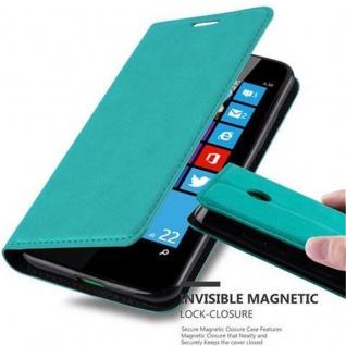 Cadorabo Hülle für Nokia Lumia 630 in PETROL TÜRKIS - Handyhülle mit Magnetverschluss, Standfunktion und Kartenfach - Case Cover Schutzhülle Etui Tasche Book Klapp Style
