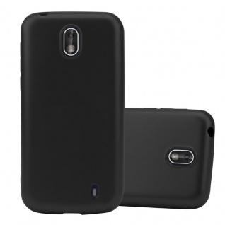 Cadorabo Hülle für Nokia 1 2017 in METALLIC SCHWARZ - Handyhülle aus flexiblem TPU Silikon - Silikonhülle Schutzhülle Ultra Slim Soft Back Cover Case Bumper