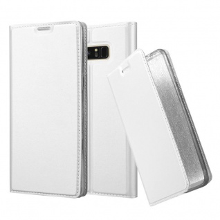 Cadorabo Hülle für Samsung Galaxy NOTE 8 in CLASSY SILBER - Handyhülle mit Magnetverschluss, Standfunktion und Kartenfach - Case Cover Schutzhülle Etui Tasche Book Klapp Style