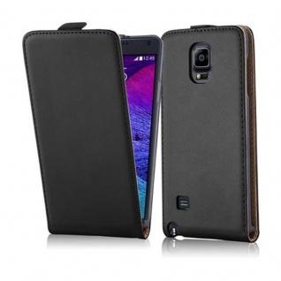 Cadorabo Hülle für Samsung Galaxy NOTE 4 in KAVIAR SCHWARZ - Handyhülle im Flip Design aus glattem Kunstleder - Case Cover Schutzhülle Etui Tasche Book Klapp Style