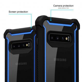 Cadorabo Hülle für Samsung Galaxy S10 PLUS in BLAU SCHWARZ - 2-in-1 Handyhülle mit TPU Silikon-Rand und Acryl-Glas-Rücken - Schutzhülle Hybrid Hardcase Back Case - Vorschau 2
