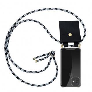 Cadorabo Handy Kette für Apple iPhone 11 PRO (XI PRO) in SCHWARZ CAMOUFLAGE - Silikon Necklace Umhänge Hülle mit Gold Ringen, Kordel Band Schnur und abnehmbarem Etui - Schutzhülle