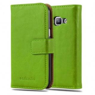 Cadorabo Hülle für Samsung Galaxy J1 2015 in GRAS GRÜN ? Handyhülle mit Magnetverschluss, Standfunktion und Kartenfach ? Case Cover Schutzhülle Etui Tasche Book Klapp Style