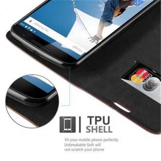 Cadorabo Hülle für Lenovo Google NEXUS 6 / 6X in CAPPUCCINO BRAUN - Handyhülle mit Magnetverschluss, Standfunktion und Kartenfach - Case Cover Schutzhülle Etui Tasche Book Klapp Style - Vorschau 4