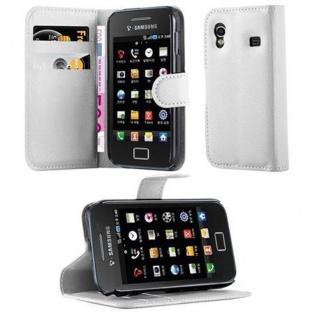 Cadorabo Hülle für Samsung Galaxy ACE 1 in ARKTIS WEIß - Handyhülle mit Magnetverschluss, Standfunktion und Kartenfach - Case Cover Schutzhülle Etui Tasche Book Klapp Style