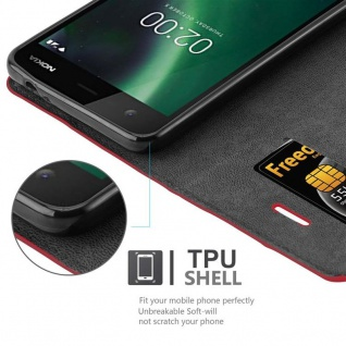 Cadorabo Hülle für Nokia 2 2017 in APFEL ROT - Handyhülle mit Magnetverschluss, Standfunktion und Kartenfach - Case Cover Schutzhülle Etui Tasche Book Klapp Style - Vorschau 3