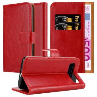 Cadorabo Hülle für Samsung Galaxy S10 in WEIN ROT Handyhülle mit Magnetverschluss, Standfunktion und Kartenfach Case Cover Schutzhülle Etui Tasche Book Klapp Style