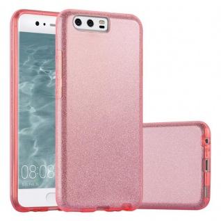 Cadorabo Hülle für Huawei P10 - Hülle in STERNENSTAUB PINK ? TPU Silikon und Hardcase Handyhülle im Glitzer Design - Hard Case TPU Silikon Schutzhülle