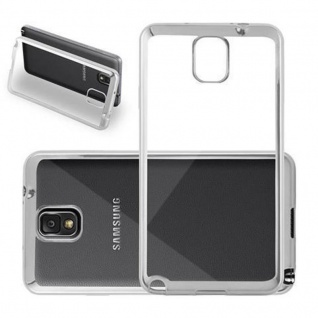 Cadorabo Hülle für Samsung Galaxy NOTE 4 - Hülle in TRANSPARENT mit CHROM SILBER - Handyhülle aus TPU Silikon im Chrom Design - Silikonhülle Schutzhülle Ultra Slim Soft Back Cover Case Bumper