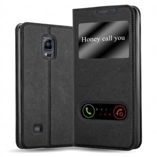 Cadorabo Hülle für Samsung Galaxy NOTE EDGE in KOMETEN SCHWARZ Handyhülle mit Magnetverschluss, Standfunktion und 2 Sichtfenstern Case Cover Schutzhülle Etui Tasche Book Klapp Style