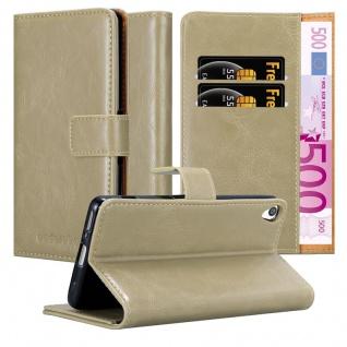 Cadorabo Hülle für Sony Xperia XA in CAPPUCCINO BRAUN - Handyhülle mit Magnetverschluss, Standfunktion und Kartenfach - Case Cover Schutzhülle Etui Tasche Book Klapp Style