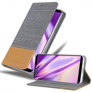 Cadorabo Hülle für Vivo V7 in HELL GRAU BRAUN - Handyhülle mit Magnetverschluss, Standfunktion und Kartenfach - Case Cover Schutzhülle Etui Tasche Book Klapp Style