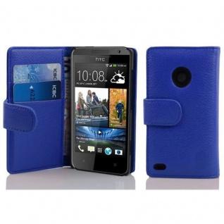 Cadorabo Hülle für HTC DESIRE 300 in KÖNIGS BLAU ? Handyhülle aus strukturiertem Kunstleder mit Standfunktion und Kartenfach ? Case Cover Schutzhülle Etui Tasche Book Klapp Style