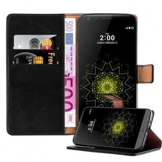 Cadorabo Hülle für LG G5 in GRAPHIT SCHWARZ ? Handyhülle mit Magnetverschluss, Standfunktion und Kartenfach ? Case Cover Schutzhülle Etui Tasche Book Klapp Style