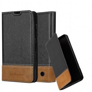 Cadorabo Hülle für Nokia Lumia 550 in SCHWARZ BRAUN ? Handyhülle mit Magnetverschluss, Standfunktion und Kartenfach ? Case Cover Schutzhülle Etui Tasche Book Klapp Style