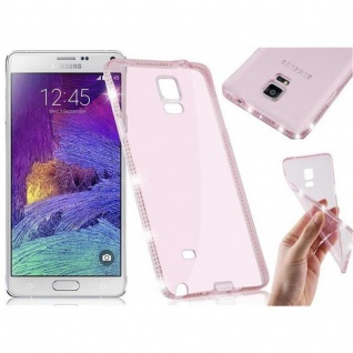 Cadorabo Hülle für Samsung Galaxy NOTE 4 - Hülle in TRANSPARENT ROSA - Handyhülle aus TPU Silikon im Strass Design - Silikonhülle Schutzhülle Ultra Slim Soft Back Cover Case Bumper