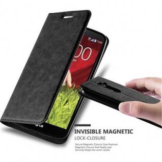 Cadorabo Hülle für LG G2 in NACHT SCHWARZ - Handyhülle mit Magnetverschluss, Standfunktion und Kartenfach - Case Cover Schutzhülle Etui Tasche Book Klapp Style
