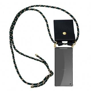 Cadorabo Handy Kette für Sony Xperia XA in CAMOUFLAGE ? Silikon Necklace Umhänge Hülle mit Gold Ringen, Kordel Band Schnur und abnehmbarem Etui ? Schutzhülle
