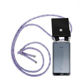 Cadorabo Handy Kette für Huawei P9 in UNICORN - Silikon Necklace Umhänge Hülle mit Silber Ringen, Kordel Band Schnur und abnehmbarem Etui - Schutzhülle