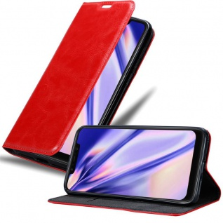 Cadorabo Hülle für Xiaomi Pocophone F1 in APFEL ROT Handyhülle mit Magnetverschluss, Standfunktion und Kartenfach Case Cover Schutzhülle Etui Tasche Book Klapp Style