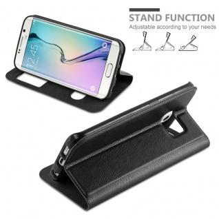 Cadorabo Hülle für Samsung Galaxy S6 EDGE PLUS in KOMETEN SCHWARZ - Handyhülle mit Magnetverschluss, Standfunktion und 2 Sichtfenstern - Case Cover Schutzhülle Etui Tasche Book Klapp Style - Vorschau 4