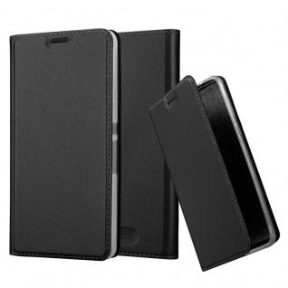Cadorabo Hülle für Sony Xperia E3 in CLASSY SCHWARZ - Handyhülle mit Magnetverschluss, Standfunktion und Kartenfach - Case Cover Schutzhülle Etui Tasche Book Klapp Style