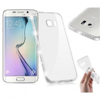 Cadorabo Hülle für Samsung Galaxy S6 EDGE - Hülle in TRANSPARENT WEIß - Handyhülle aus TPU Silikon im Strass Design - Silikonhülle Schutzhülle Ultra Slim Soft Back Cover Case Bumper