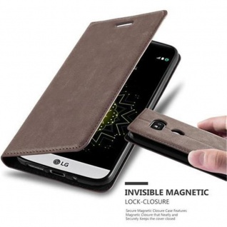 Cadorabo Hülle für LG G5 in KAFFEE BRAUN - Handyhülle mit Magnetverschluss, Standfunktion und Kartenfach - Case Cover Schutzhülle Etui Tasche Book Klapp Style