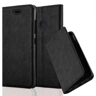 Cadorabo Hülle für HTC DESIRE 10 PRO in NACHT SCHWARZ - Handyhülle mit Magnetverschluss, Standfunktion und Kartenfach - Case Cover Schutzhülle Etui Tasche Book Klapp Style