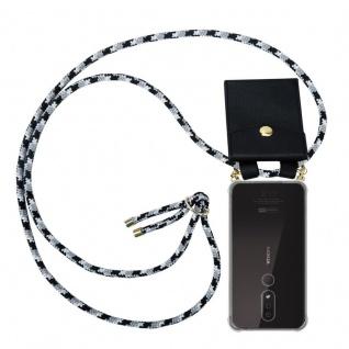 Cadorabo Handy Kette für Nokia 4.2 in SCHWARZ CAMOUFLAGE Silikon Necklace Umhänge Hülle mit Gold Ringen, Kordel Band Schnur und abnehmbarem Etui Schutzhülle
