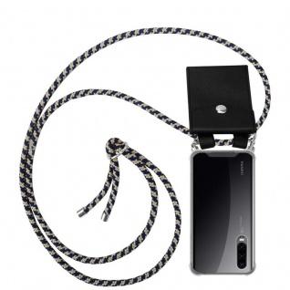 Cadorabo Handy Kette für Huawei P30 in DUNKELBLAU GELB Silikon Necklace Umhänge Hülle mit Silber Ringen, Kordel Band Schnur und abnehmbarem Etui Schutzhülle
