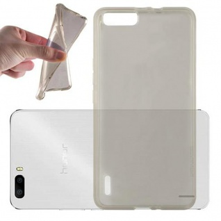 Cadorabo Hülle für Honor 6 PLUS - Hülle in TRANSPARENT SCHWARZ ? Handyhülle aus TPU Silikon im Ultra Slim 'AIR' Design - Ultra Slim Soft Backcover Case Bumper