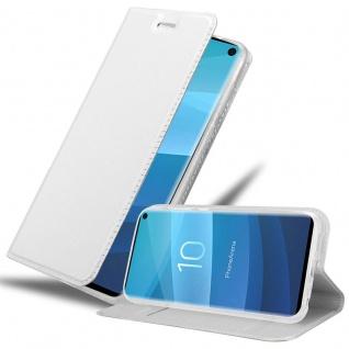 Cadorabo Hülle für Samsung Galaxy S10 in CLASSY SILBER Handyhülle mit Magnetverschluss, Standfunktion und Kartenfach Case Cover Schutzhülle Etui Tasche Book Klapp Style