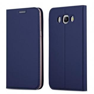 Cadorabo Hülle für Samsung Galaxy J5 2016 in CLASSY DUNKEL BLAU - Handyhülle mit Magnetverschluss, Standfunktion und Kartenfach - Case Cover Schutzhülle Etui Tasche Book Klapp Style