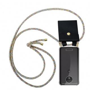 Cadorabo Handy Kette für Motorola MOTO C PLUS in RAINBOW Silikon Necklace Umhänge Hülle mit Gold Ringen, Kordel Band Schnur und abnehmbarem Etui Schutzhülle