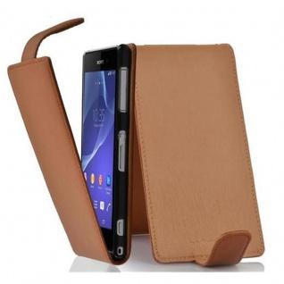 Cadorabo Hülle für Sony Xperia Z2 in COGNAC BRAUN - Handyhülle im Flip Design aus strukturiertem Kunstleder - Case Cover Schutzhülle Etui Tasche Book Klapp Style
