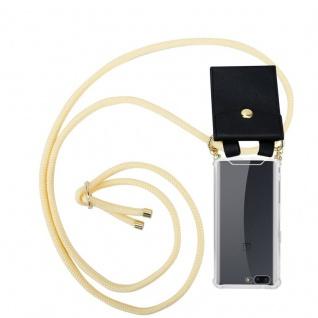 Cadorabo Handy Kette für OnePlus 5 in CREME BEIGE - Silikon Necklace Umhänge Hülle mit Gold Ringen, Kordel Band Schnur und abnehmbarem Etui ? Schutzhülle