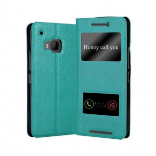 Cadorabo Hülle für HTC One M9 in MINT TÜRKIS - Handyhülle mit Magnetverschluss, Standfunktion und 2 Sichtfenstern - Case Cover Schutzhülle Etui Tasche Book Klapp Style